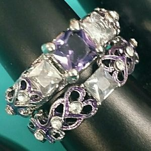 Jewelry - Silver tone with purple accents ring size 5 and 9